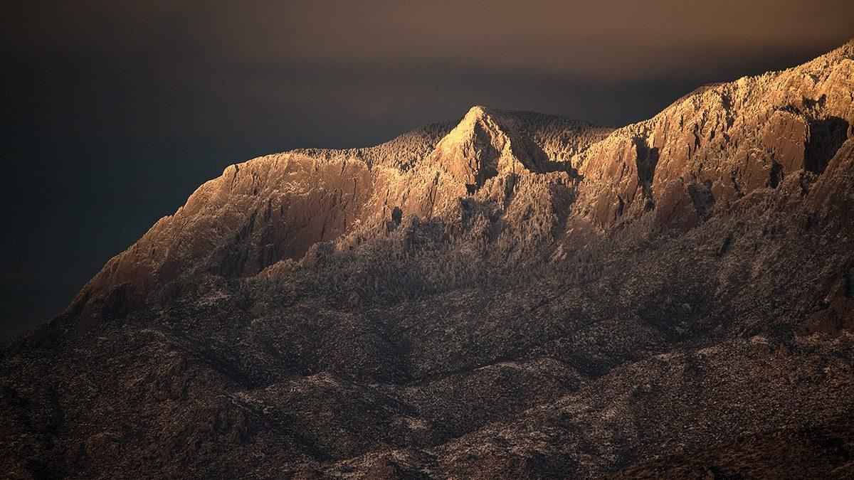 winter view of the north peak of the Sandias